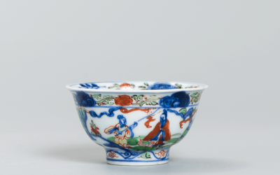 A fine and rare Wucai wine cup