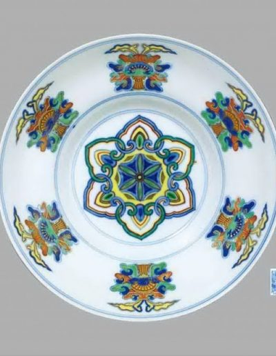 A fine and rare doucai dish with 'Bajixiang' design