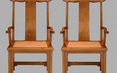 A fine and rare pair of Huanghuali yoke-back armchairs, sichutou guanmaoyi