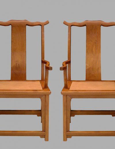 A fine and rare pair of Huanghuali yoke-back armchairs, sichutou guanmaoyi