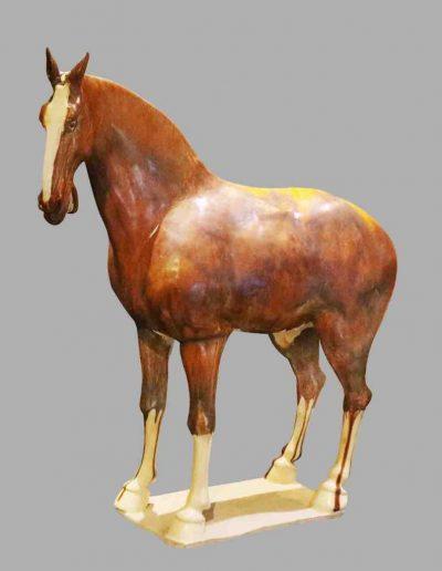 唐三彩褐釉馬
