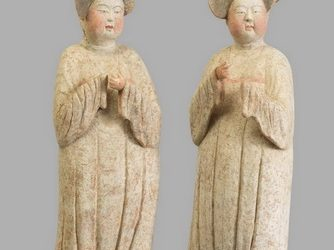 Pair of extremely rare pottery fat ladies