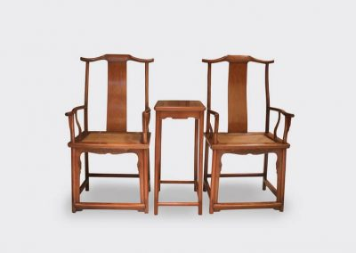A fine and rare pair of Hainan Huanghuali Sichutou chairs with side table